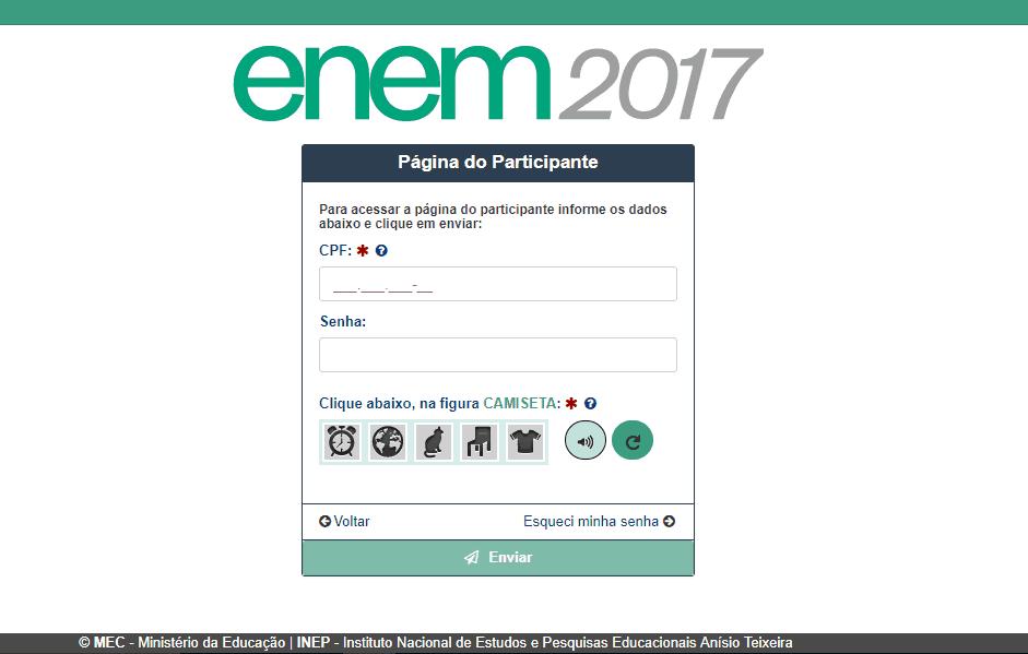 Resultado Enem 2017 - Página do Participante INEP