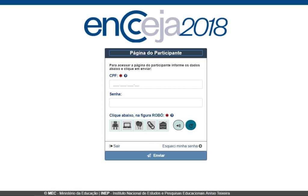 Locais de Prova Encceja 2018 - Página do Participante INEP 1