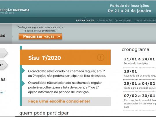 Inscrições Sisu 2020